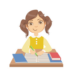 cute little girl writing at school a colorful vector image vector image
