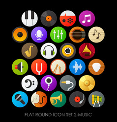 flat round icon set 2-music vector image