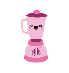 Pink color silhouette of cartoon kitchen blender vector
