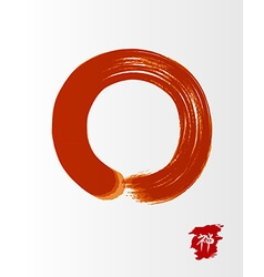 Red zen circle traditional enso vector image vector image