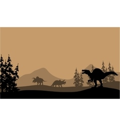 Silhouette of spinosaurus and Triceratops vector image