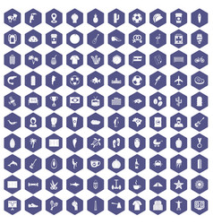 100 south america icons hexagon purple vector image