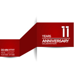 11 years anniversary design with red and white vector