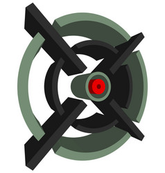 3d cross-hair reticle target mark on white vector