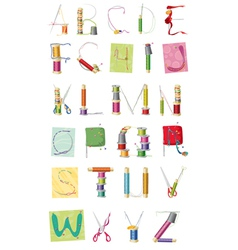 A set of letters sewing kit vector