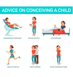 advice on conceiving a child vector image