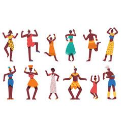 African dancing people dancing tribal dance vector