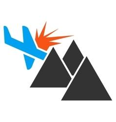 Airplane Mountain Crash Icon vector