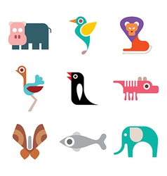 animal colorful icons vector image