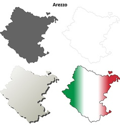 Arezzo blank detailed outline map set vector