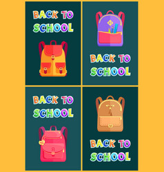 back to school bags rucksacks and satchels poster vector image