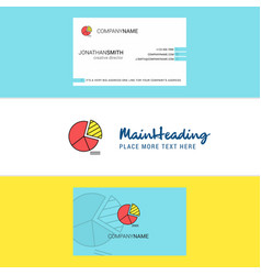 beautiful pie chart logo and business card vector image