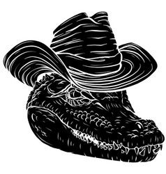 black silhouette alligator head with hat vector image