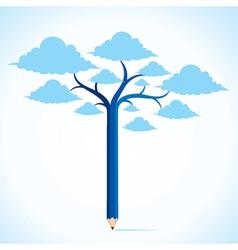 blue cloud tree stock vector image