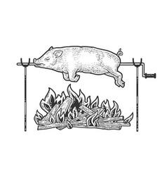 Bonfire pork sketch vector