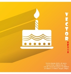 cake Flat modern web button with long shadow and vector image