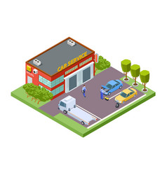 car service location isometric service building vector image