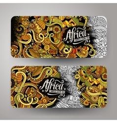 Cartoon cute doodles africa banners vector