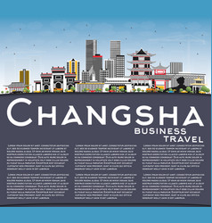 changsha china city skyline with gray buildings vector image