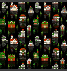 Christams house pattern for gift paper your design vector