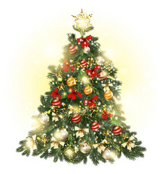 Christmas decorated tree with baubles stars vector