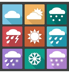 Colored square icons set of weather forecast vector image