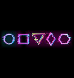 colorful glitch geometric shapes frames set vector image