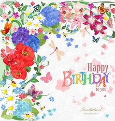 Colorful invitation card with floral elements for vector image