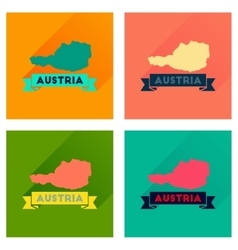 Concept flat icons with long shadow map of Austria vector