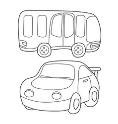 Contour black and white cartoon of bus and car vector