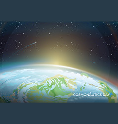 Cosmonautics day themed poster with earth part vector