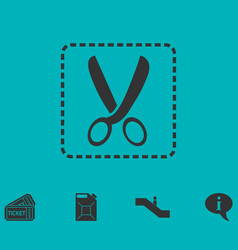 coupon cutting icon flat vector image
