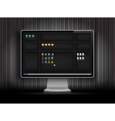Dark desktop background with shelfs vector