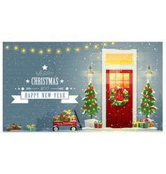 Decorated christmas front door background vector