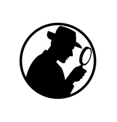Detective with magnifying glass silhouette circle vector