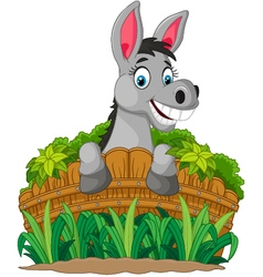 Donkey cartoon holding fence vector