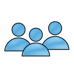 drawing community people group team media network vector image