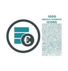 Euro Money Database Rounded Icon with 1000 Bonus vector image