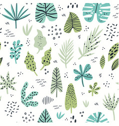 Exotic leaves hand drawn seamless pattern vector