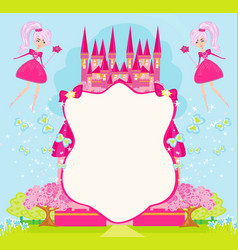 Fairytale frame with little fairies vector