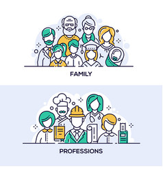Family and professions banner templates set vector