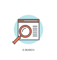 Flat lined loupe icon Web search vector