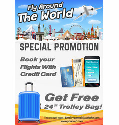 fly around world promotion poster banner vector image