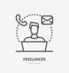 Freelance line icon pictograph remote vector