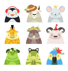 Funny animals and birds different hats set vector