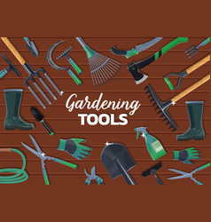 Garden spade fork trowel rake gardening tools vector