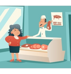 Granny Old Woman in Meat Shop Talk with Seller vector image