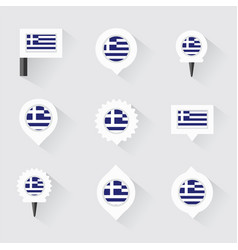 Greece flag and pins for infographic and map vector