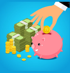 hand putting bitcoin dollar into saving piggy bank vector image