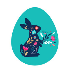 happy easter bunnies flowers and eggs folk vector image